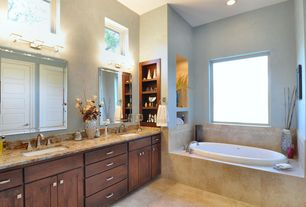Craftsman Master Bathroom with Master bathroom, limestone tile floors, Flat panel cabinets, Complex granite counters, Flush