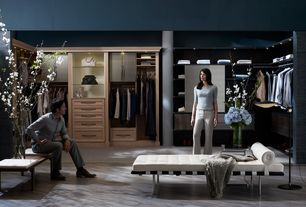 Contemporary Closet with Columns, Built-in bookshelf, Laminate floors, Andalucia creme leather bench, Ceiling fan