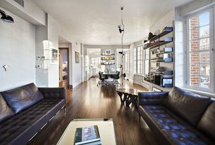 Contemporary Living Room with Casement, Standard height, Pendant light, Built-in bookshelf, Hardwood floors