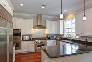 Contemporary Kitchen with Quick ship metals stainless steel bright hammered pattern backsplash, Hardwood floors, Flush