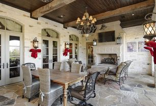Traditional Porch with tv wall mount, Lloyd Flanders Mandalay All-Weather Wicker Side Dining Chair, Glass panel door