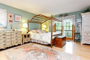 Country Kids Bedroom with Hardwood floors, French door, Liberty Furniture Messina Estates 3 Drawer Nightstand, Canopy bed