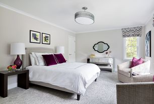 Contemporary Guest Bedroom with Standard height, Carpet, specialty door, flush light, Crown molding, double-hung window