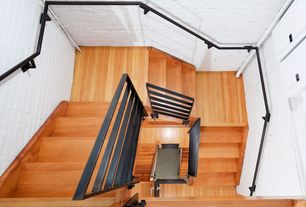 Contemporary Staircase with curved staircase, Hardwood floors, Cathedral ceiling