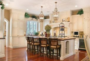 Traditional Kitchen with Paint 1, Kathy kuo home - champlan inverted cage silver leaf 6 light chandelier, Custom hood