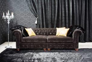 room with Faux fur area rug, Floor lamp, Velvet sofa, Faux fur throw, Damask wallpaper, Draw draperies, Drapery tassel