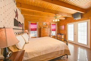 Country Master Bedroom with French doors, Hardwood floors, Exposed beam, Standard height, interior wallpaper, Ceiling fan