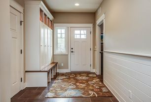 "Traditional Entryway with Daltile - concrete connection: eastside brown 13"" x 13"" porcelain tile, Paint, Casement, can lights"