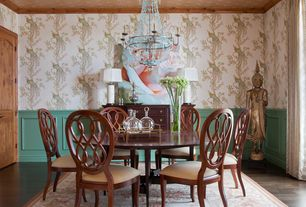 Eclectic Dining Room with Ariel Side Chair, Crown molding, Hardwood floors, Cranesbill Castle Wallpaper, Chandelier