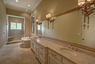 Traditional Master Bathroom with Wall sconce, Freestanding, Crown molding, Double sink, Shower, Raised panel, Undermount sink