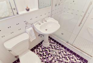 "Traditional 3/4 Bathroom with Clayhaus ceramics mosaic 1"" circle tiles, Handheld showerhead, frameless showerdoor"