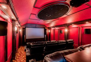 Eclectic Home Theater with Carpet, Wall sconce, Crown molding, Built-in bookshelf, Columns