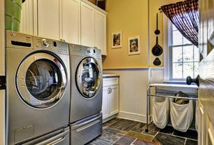 Country Laundry Room with Chair rail, laundry sink, double-hung window, Standard height, drop-in sink, Built-in bookshelf