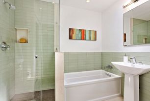 "Contemporary 3/4 Bathroom with frameless showerdoor, Kohler archer 60""x32"" alcove bath with integral apron, Rain shower"