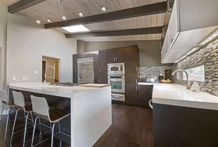 Contemporary Kitchen with flush light, Flush, Exposed beam, Ceramic Tile, Corian counters, Undermount sink, Skylight
