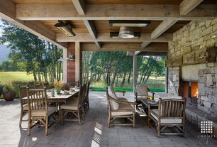 Rustic Porch with Pathway, Screened porch, exterior stone floors