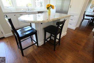 Traditional Kitchen with Simple granite counters, Flat panel cabinets, Farmhouse sink, L-shaped, Inset cabinets