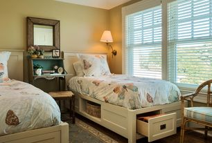 Country Guest Bedroom with Standard height, bedroom reading light, Hardwood floors, double-hung window