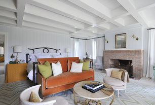 Eclectic Master Bedroom with Carpet, Exposed beam