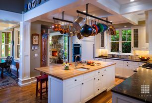 Craftsman Kitchen with Breakfast bar, Box ceiling, John Boos OKT06V Kitchen Countertop, L-shaped, Glass panel, Kitchen island