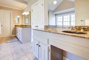 Traditional Master Bathroom with Crown molding, Complex Granite, Undermount sink, Raised panel, Framed Partial Panel