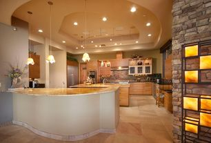 Contemporary Kitchen with High ceiling, Soapstone Tile, travertine tile floors, European Cabinets, Galley, Flush, flush light
