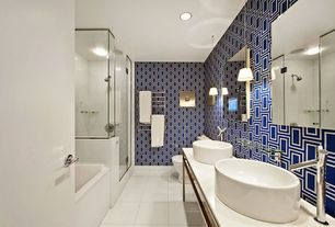 Contemporary Master Bathroom with Vessel sink, Master bathroom, Double sink, limestone tile floors, frameless showerdoor