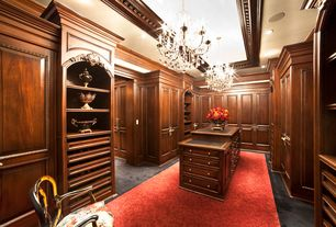 Traditional Closet with Crown molding, Chandelier, Built-in bookshelf, Standard height, Concrete floors, Custom cabinetry