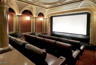 Traditional Home Theater with Columns, High ceiling, Pendant light, Pink Veined Marble Columns, interior wallpaper, Mural