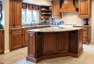 Traditional Kitchen with travertine tile floors, L-shaped, Simple granite counters, Kitchen island, Undermount sink