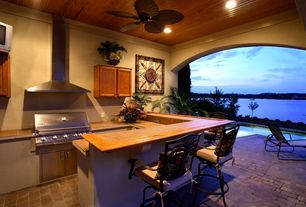 Contemporary Porch with Outdoor kitchen, exterior stone floors
