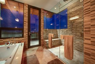 Contemporary Full Bathroom with Wall Tiles, Rain shower, can lights, Casement, Handheld showerhead, Pendant light, Bathtub