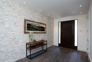 Contemporary Entryway with specialty door, Hardwood floors, Frosted sidelights, Solistone - natural stone mosaic