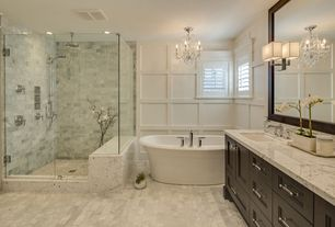 Traditional Master Bathroom with Destiny: Sarasota Cabinetry, complex marble tile floors, Artificial Magnolia Branches, Flush