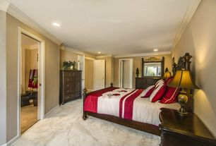 Traditional Master Bedroom with Carpet, Standard height, six panel door, Crown molding, can lights