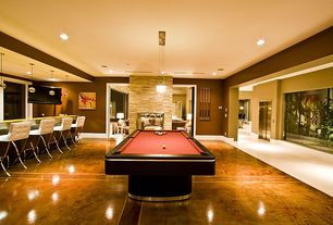 Contemporary Game Room with Hardwood floors, Pendant light
