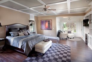 Contemporary Master Bedroom with Crown molding, sliding glass door, flush light, Box ceiling, Standard height, Wall sconce