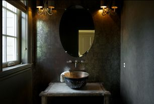 Eclectic Powder Room with Casement, 2nd ave design olivia 2 light wall sconce, interior wallpaper, Powder room, Wood counters