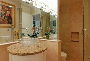 Contemporary Full Bathroom with Shower, can lights, Full Bath, Complex granite counters, Wall sconce, flat door, Wall Tiles