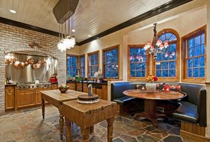 Country Kitchen with Paint 2, Arched window, Chandelier, Paint, Custom hood, Raised panel, can lights, full backsplash, Flush