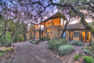 Eclectic Landscape/Yard with exterior stone floors, French doors, Transom window, Arizona Flagstone Buff, Pathway