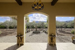 Mediterranean Porch with Screened porch, Fence, exterior stone floors