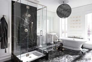 Contemporary Master Bathroom with Kohler - bancroft pedestal sink, Daltile marble collection china black, Kohler - vintage