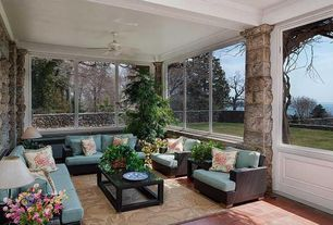 Cottage Porch with Patio Heaven Signature Sofa with Cushions, Fence, Screened porch, exterior terracotta tile floors