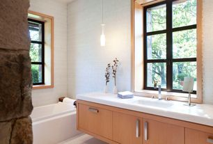 Contemporary Master Bathroom with European Cabinets, Corian counters, Flush, Undermount sink, Master bathroom, Pendant light