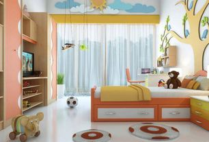 Contemporary Kids Bedroom with Under bed storage, Mural, Built-in bookshelf, simple marble floors, High ceiling