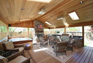 Traditional Porch with Fence, Wrap around porch, Outdoor kitchen, Pathway, outdoor pizza oven, Skylight