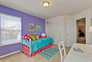 Contemporary Guest Bedroom with flush light, specialty door, Paint, Built-in bookshelf, double-hung window, Carpet