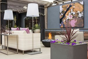 Contemporary Deck with Fire pit