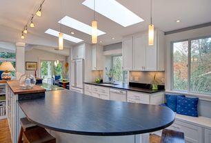 Contemporary Kitchen with Pental Via Lattea Polished Granite, Window seat, Breakfast bar, Wood counters, Skylight, Soapstone
